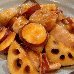 子どもが喜ぶ簡単常備菜。さつまいも蓮根鳥肉の甘酢あんかけ