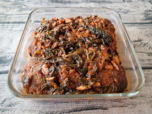 お肉の簡単常備菜。ほうれん草の煮込みハンバーグの作り方。