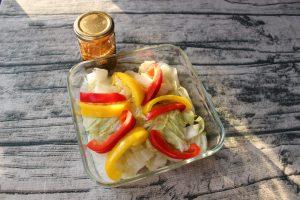 レンジで簡単常備菜レシピ。温野菜と中華ドレッシングの作り方。