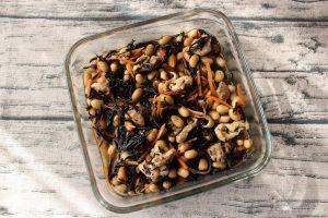 レンジで簡単常備菜レシピ。とり五目豆
