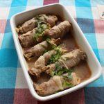 レンジで簡単お弁当の常備菜。エリンギとえのきの肉巻きバター醤油