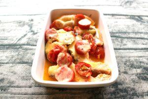 レンジで簡単。鮭のプチトマチーズ焼き