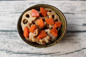 レンジであったか常備菜。蓮根と鶏肉のほっこり煮