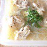 魅惑の味。鶏もも肉の塩レモンだれフォー風