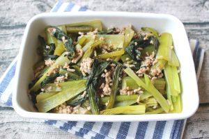 レンジで簡単お弁当おかず。小松菜そぼろ