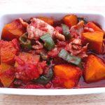かぼちゃピーマン豚肉のトマト煮こみの簡単レシピ