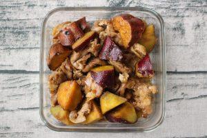 さつまいもと豚肉のてりやき炒め。簡単お肉の作り置きレシピ。