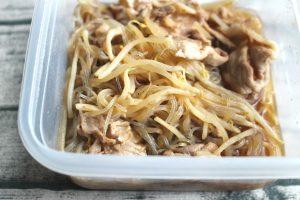 豚もやしのはるさめ煮。レンジで簡単つくりおき常備菜レシピ。