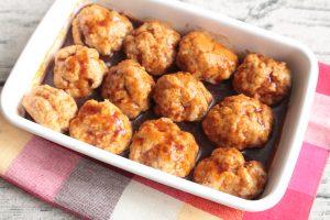 人気のお弁当の作り置きレシピ。揚げないミートボール。卵なしの簡単作り方。