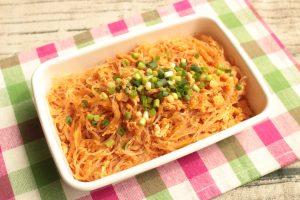 レンジで簡単常備菜レシピ。 春雨と卵のケチャップ炒め