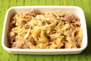 自家製レンジアップ惣菜の作り方。豚肉キャベツのしょうが焼のレシピ