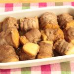 人気の作り置きレシピ。厚揚げの肉巻き角煮風。レンジで簡単作り方。