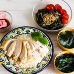 人気のカオマンガイともやしワカメサラダと春雨スープの献立
