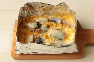 災害時に節水しながら料理する方法。鯖マヨコーンのチーズ焼き。