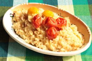 シチリア風ツナとトマトのリゾットのレンジで簡単作り方。2~3人分のレシピ。