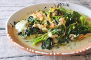 簡単作り置き常備菜レシピ。ほうれん草と鮭のミルク煮の作り方。