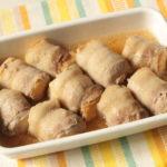 人気のレンジで簡単作り置きおかず。肉巻き厚揚げの煮物のレシピ。お弁当におすすめ。