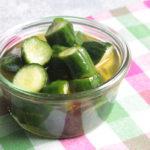 塩もみなしで作業2分で作れるレシピ。きゅうりのカンタン酢漬けの作り方。