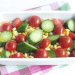 調味料3つ。きゅうりトマトコーンのさっぱり漬けサラダの作り方。